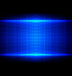 Abstract blue light effect and grid perspective vector