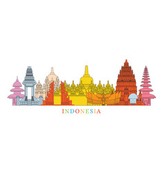 Indonesia architecture landmarks skyline vector