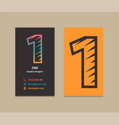 Number 1 logo business card vector