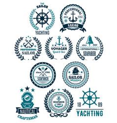 Nautical marine heraldic icons for yachting vector