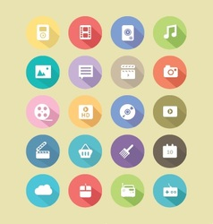 long shadow button icons vector image