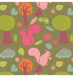 autumn forest seamless pattern vector image