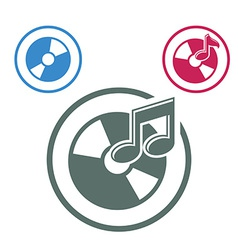 Audio cd icon single color music theme symbol for vector
