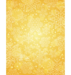 Golden christmas background with snowflakes vector