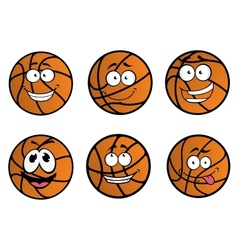 Cartooned basketball ball characters vector