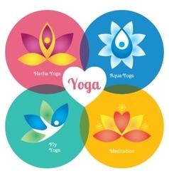Yoga signs set hatha aqua fly meditation vector