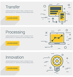Transfer data processing innovation line art flat vector