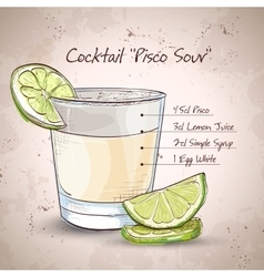 Cocktail pisco sour vector