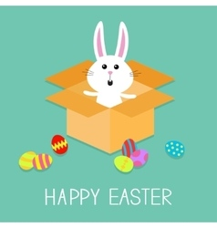 Happy easter cute bunny rabbit and eggs open vector