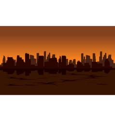 City silhouette reflection from water vector