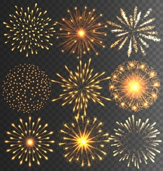 Golden festive firework salute burst on black vector