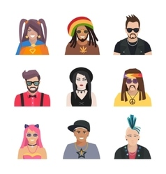 Subcultures people icons set vector