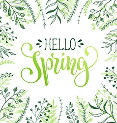 Hello spring greeting card vector