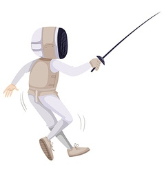 Athlete in fencing outfit with sword vector