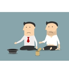 Bankrupt businessman and pauper begging money vector image vector image