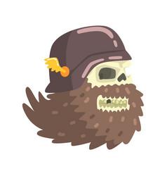 Beardy scull smiling wearing black helmet vector