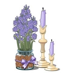 Bouquet of lilac in glass vase and two candles vector