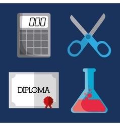 Calculator scissors flask diploma icon vector