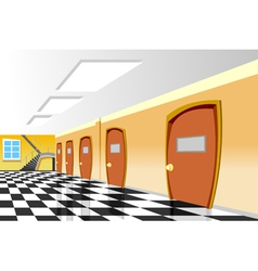 Cartoon interior corridor curve school vector