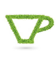 Cup silhouette of green leaves vector image