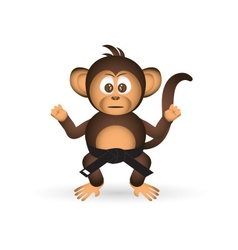 cute chimpanzee karate training black belt little vector image vector image