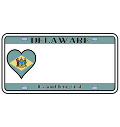 Delaware state license plate vector