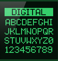 digital font alphabet and numbers vector image vector image