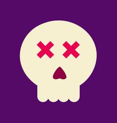 Flat icon on background halloween emotion skull vector