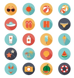 Flat icons collection with long shadow of summer vector