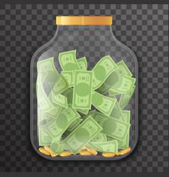 glass pot jar money saving bank coin banknote vector image