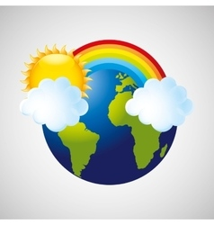 Globe earth weather meteorology cloud rainbow vector