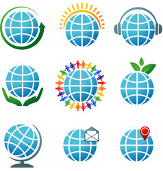 globes icons vector image