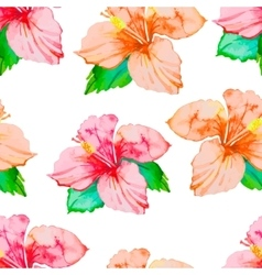 Hibiscus Tropical plants seamless pattern Exotic vector image vector image