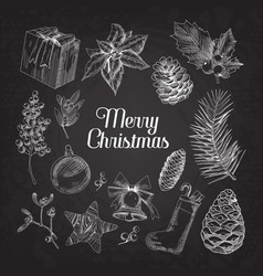 Holly christmas vintage doodle chalkboard vector