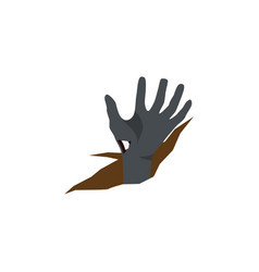 Isolated corpse hand flat icon zombie vector