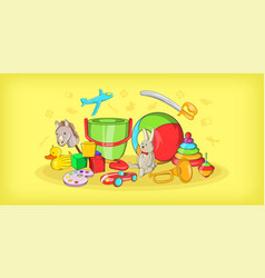 Kids toys horizontal banner cartoon style vector