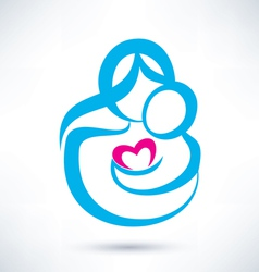 mom and baby icon vector image vector image