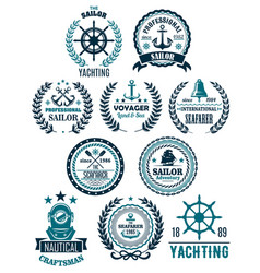 nautical marine heraldic icons for yachting vector image vector image
