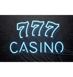 Neon casino isolated on black brick wall vector