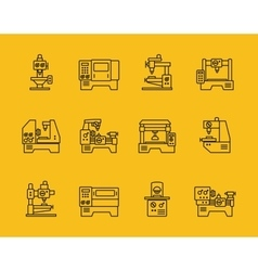 thin line machine tool icons vector image vector image