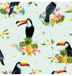 Toucan Bird Tropical Flowers Background Retro vector image vector image