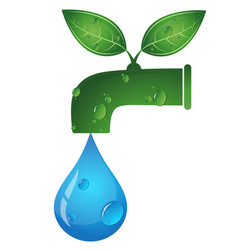 water tap and a drop of water eco symbol vector image