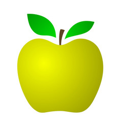 Yellow apple on a white background vector