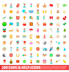 100 care and help icons set cartoon style vector