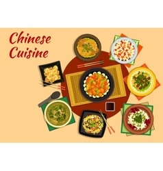 Oriental cuisine dinner with chinese food icon vector