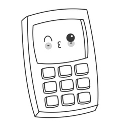Kawaii cellphone with buttons icon vector