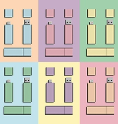 Pastel micro usb and usb flash drive vector