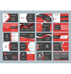 Business card templates stationery design set red vector