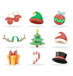 Christmas New Year Isolated Icons Set Cartoon vector image