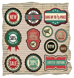 Collection of vintage retro grunge sale labels vector